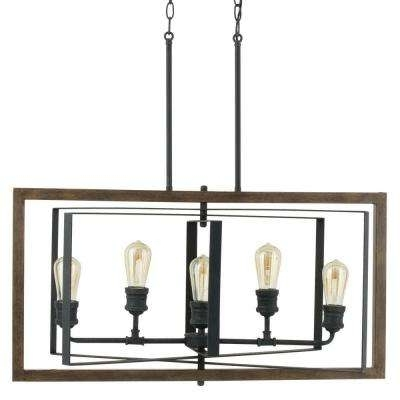 Black – Chandeliers – Lighting – The Home Depot Pertaining To Trendy Black Chandeliers (View 1 of 10)