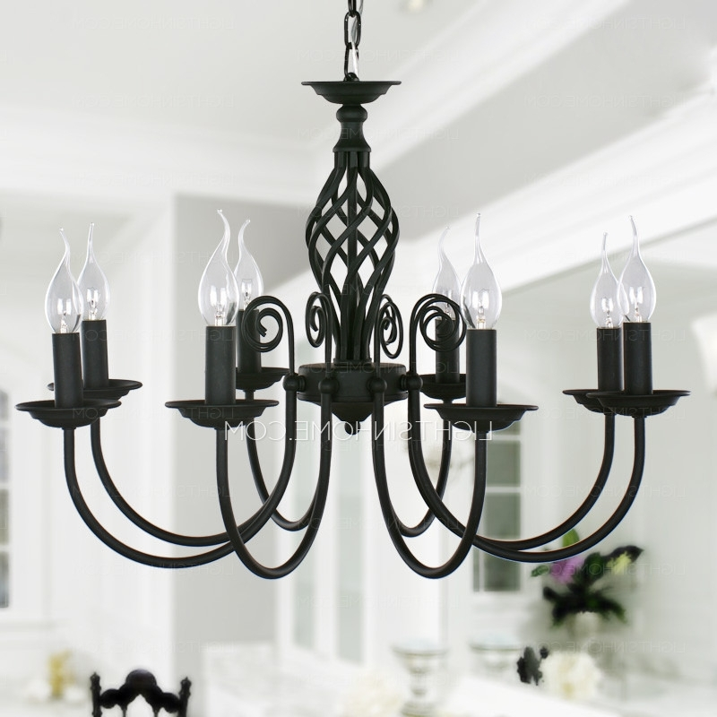 Black Fixture 8 Light Wrought Iron Material Chandeliers (View 7 of 10)
