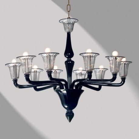 "Black Glass Chandeliers Regarding Most Up To Date Coco"" Black Murano Glass Chandelier – Murano Glass Chandeliers (View 10 of 10)"