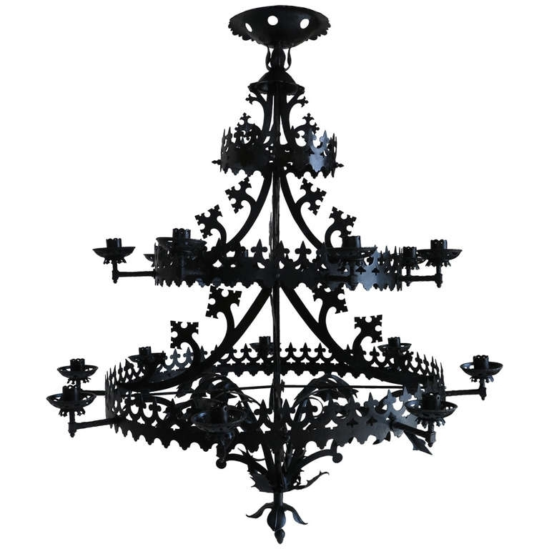 Black Gothic Chandelier Regarding Popular Large Gothic Revival Chandelier, France, 1940S (View 4 of 10)