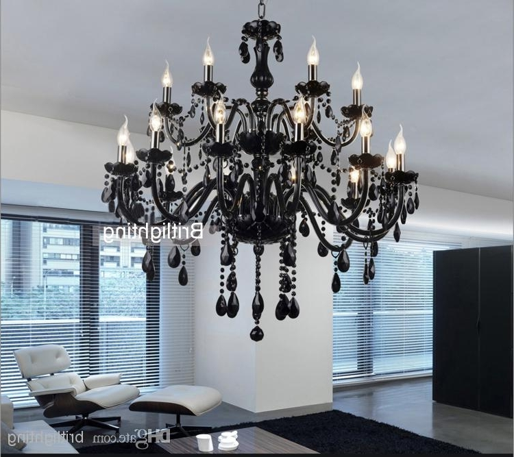 Black Murano Glass Crystal Chandelier Light Modern Black Chandeliers Pertaining To Famous Black Glass Chandelier (View 10 of 10)