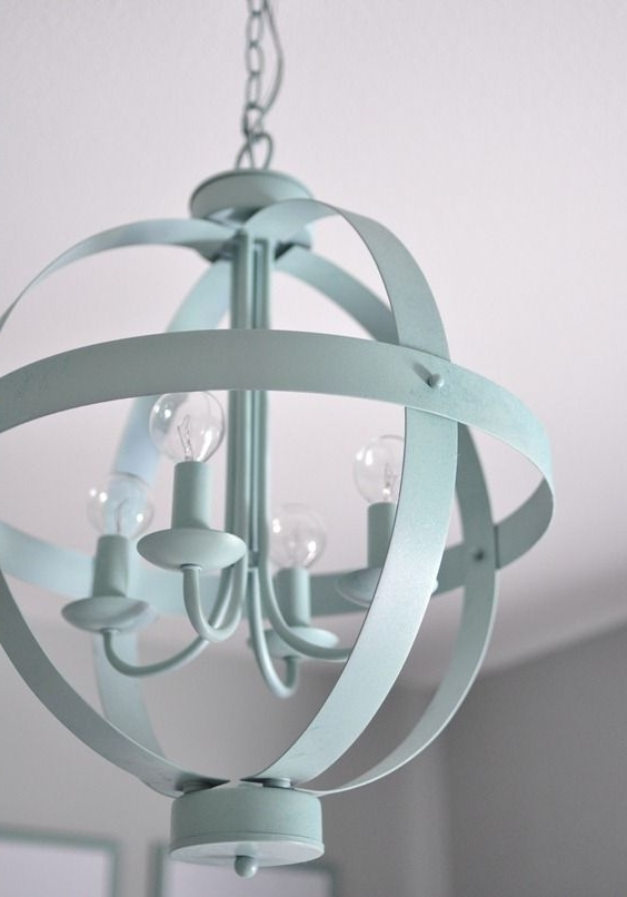 Blue Orb Chandelier From Lowes, Spray Painted (View 7 of 10)