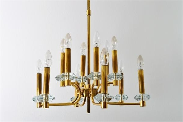 Brass And Glass Chandelier With Current Vintage Brass And Glass Chandelier With 12 Lights From Palwa, 1960S (View 3 of 10)