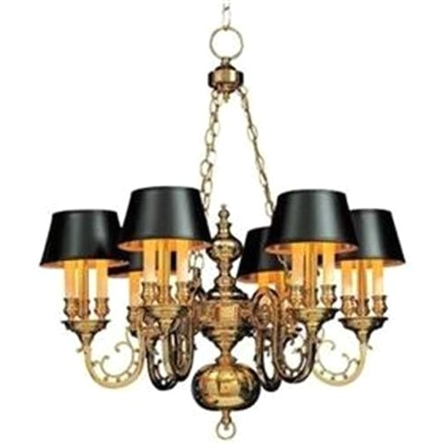 Brass Chandelier With Shades And Brass Chandelier With 6 Black With Regard To 2018 Chandeliers With Black Shades (View 7 of 10)