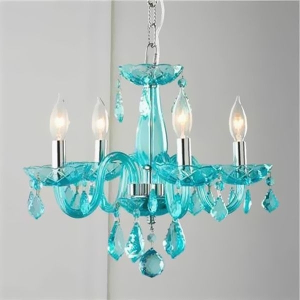 Brilliance Lighting And Chandeliers Glamorous 4 Light Full Lead Inside Newest Turquoise Crystal Chandelier Lights (Gallery 1 of 10)