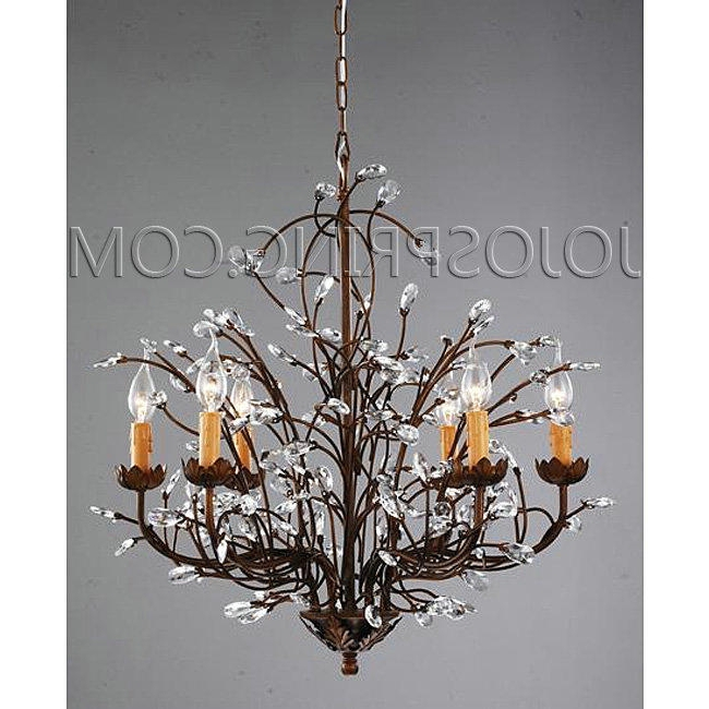 Bronze And Crystal Chandeliers Pertaining To Latest Antique Bronze 6 Light Crystal And Iron Chandelier Antique Bronze (View 9 of 10)