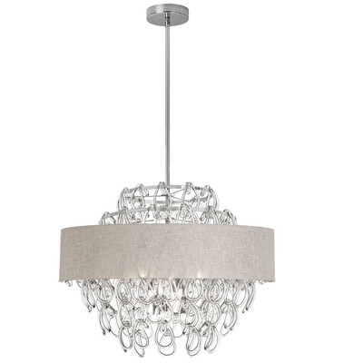 Buy 12 Light Crystal Chandelier With Linen Cream Shade Shade Color Regarding Fashionable Cream Crystal Chandelier (View 2 of 10)
