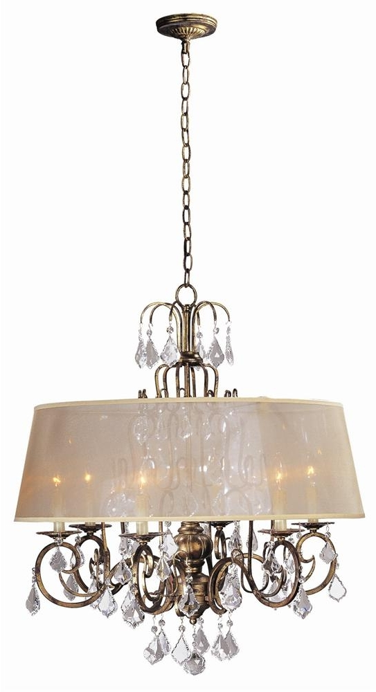 Buy Belle Marie 6 Light Crystal Chandelier W Shade In Antique Gold With Widely Used Chandelier With Shades And Crystals (View 3 of 10)