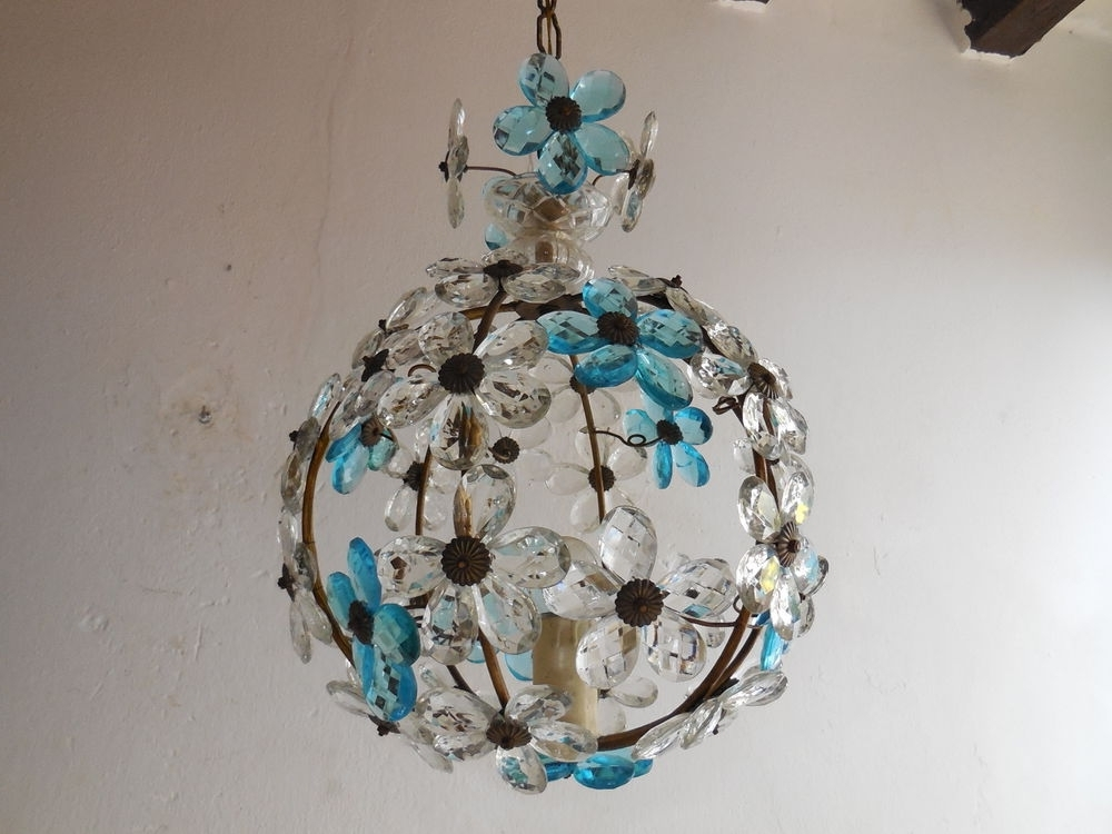 C 1920 French Maison Bagues Aqua Clear Crystal Prisms Flowers Ball For Most Current Turquoise Ball Chandeliers (View 9 of 10)