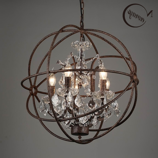 Cage Chandeliers Within Most Popular Retro Vintage Rust Iron Cage Chandeliers E14 Big Style Crystal (View 4 of 10)