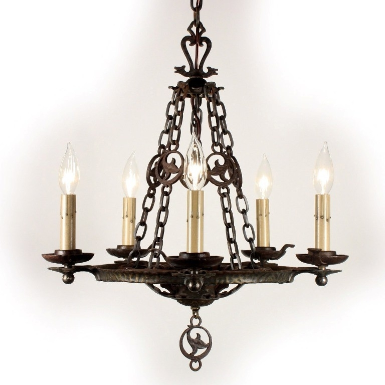Cast Iron Antique Chandelier For Recent Remarkable Antique Five Light Cast Iron Tudor Chandelier,virden (View 6 of 10)