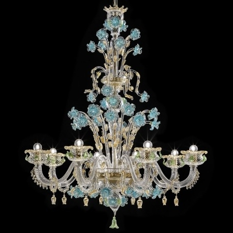 "Celeste"" Murano Glass Chandelier – Murano Glass Chandeliers Intended For Widely Used Turquoise And Gold Chandeliers (View 3 of 10)"