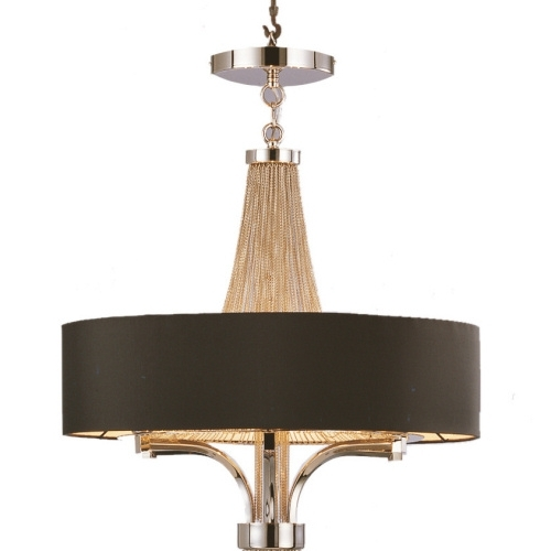 Chain Chandelier With Black Shade – 2 Sizes With Regard To Well Liked Black Chandeliers With Shades (View 3 of 10)