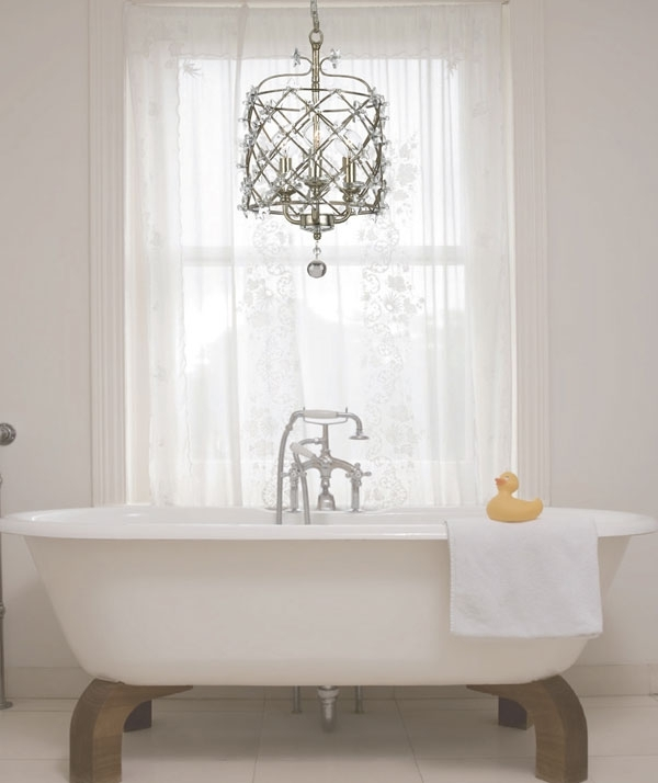 Chandelier: Astonishing Bathroom Chandeliers Ideas Powder Room With Most Popular Bathroom Safe Chandeliers (View 5 of 10)