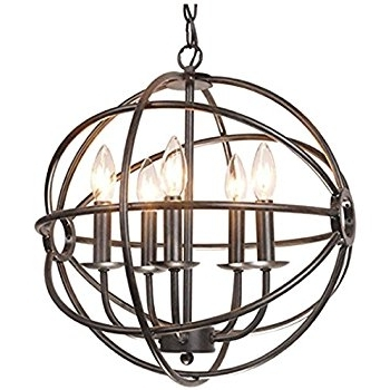 Chandelier Globe With Regard To Well Known Benita 5 Light Antique Black Metal Tube Globe Chandelier – – Amazon (View 9 of 10)