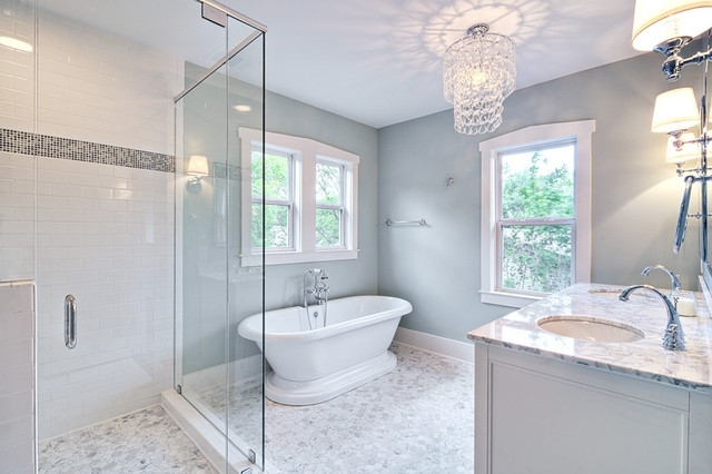 Chandelier In The Bathroom With Latest Spa Like Master Bath With Glass Chandelier And Pedestal Tub (View 4 of 10)