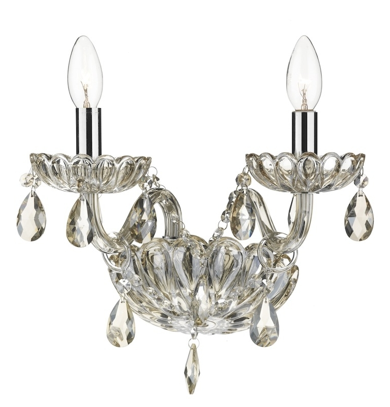 Chandelier Wall Lights Throughout Fashionable Evangelina Champagne Glass Wall Light (View 2 of 10)