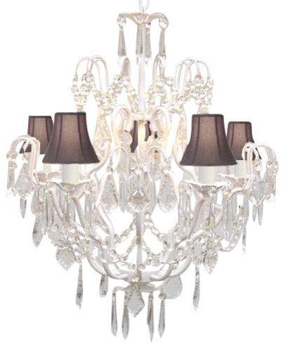Chandelier With Shades And Crystals Pertaining To Most Current The Gallery Wrought Iron White Chandelier With Black Shades Regard (View 5 of 10)