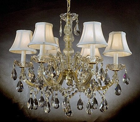 Chandelier With Shades And Crystals With Well Known Chandelier Chandeliers Crystal In Crystal Chandelier With Shade (View 8 of 10)