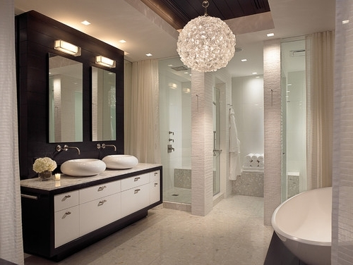 Chandeliers For The Bathroom Intended For Most Up To Date Interesting Bathroom Chandeliers Crystal Bathroom Chandeliers Bring (View 7 of 10)