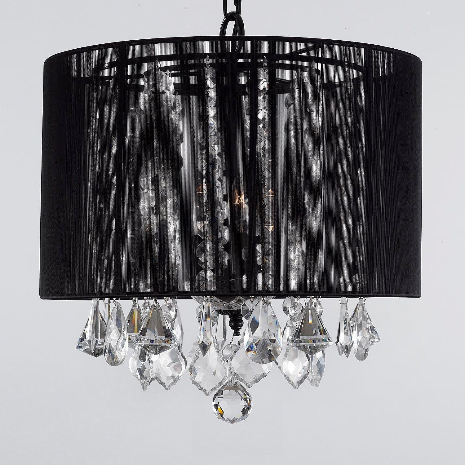 Chandeliers With Black Shades Inside Well Known Black Shade Chandelier – Spurinteractive (View 5 of 10)
