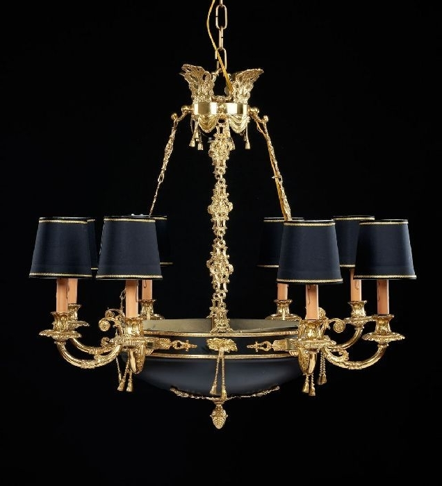 Chandeliers With Black Shades Pertaining To Newest Check Out This 8 Light French Gold Chandelier With Black Shades (View 3 of 10)