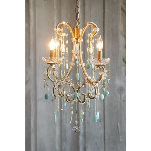 Chandi Lighting Hannah Antique Gold Four Light Mini Chandelier In Most Popular Turquoise Mini Chandeliers (View 8 of 10)