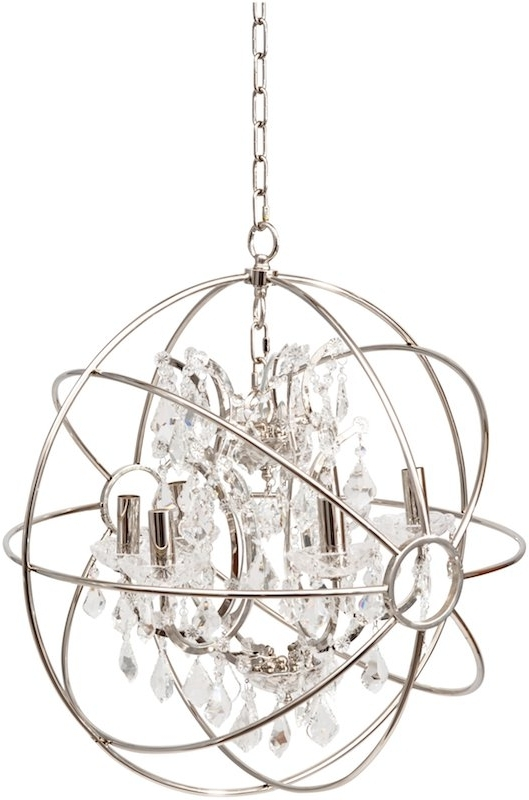 Chesterford Small Nickel Globe Chandelier In Most Recent Globe Chandeliers (View 4 of 10)