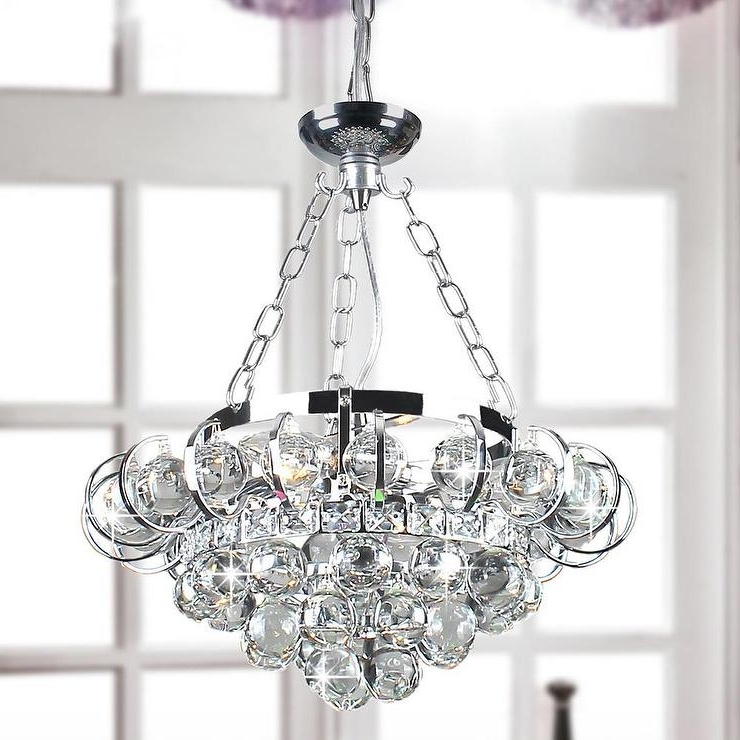 Chrome And Crystal Chandeliers In Preferred Four Light Chrome And Crystal Chandelier (View 9 of 10)