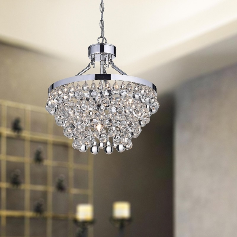 Chrome And Glass Chandelier – Buzzmark Inside Current Crystal And Chrome Chandeliers (View 2 of 10)