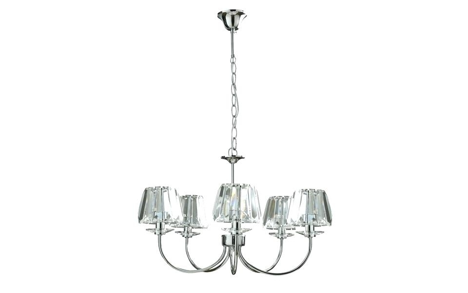 Chrome And Glass Chandeliers Within Trendy Chrome And Glass Chandelier 9 Light Two Tier Chandelier Satin Nickel (View 5 of 10)