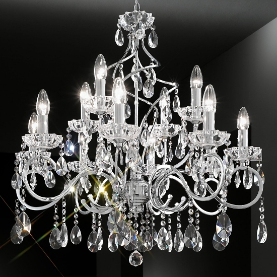 Chrome Crystal Chandelier 12 Arm Throughout Popular Chrome Crystal Chandelier (View 1 of 10)
