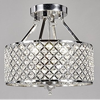 Chrome Crystal Chandelier Throughout Widely Used New Galaxy 4 Light Chrome Finish Round Metal Shade Crystal (View 6 of 10)