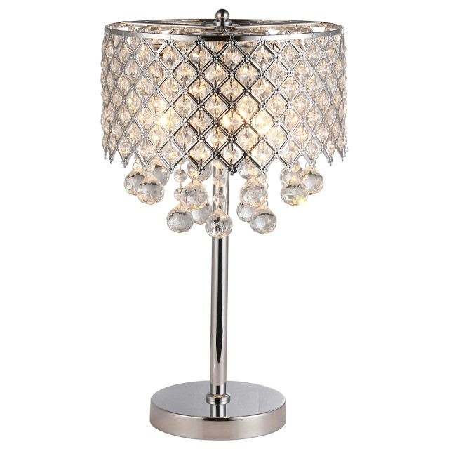 Chrome Round Crystal Chandelier Bedroom Nightstand Table Lamp 3 Throughout Recent Chandelier Night Stand Lamps (View 6 of 10)