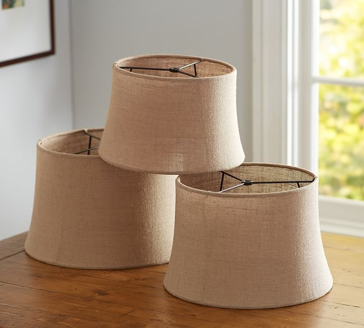 Clip On Drum Chandelier Shades With Regard To Trendy Clip On Drum Lamp Shade Burlap Sheer Tapered Pottery Barn 3 7 (View 6 of 10)