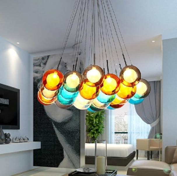 Colorful Glass Ball Pendant Lamp Chandelier Of Colorful Glass Inside 2018 Turquoise Ball Chandeliers (View 4 of 10)