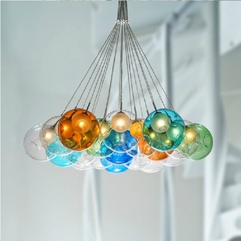 Colorful Glass Bubble Pendant Light Chandelier – Buy Glass Bubble In Recent Turquoise Bubble Chandeliers (View 4 of 10)