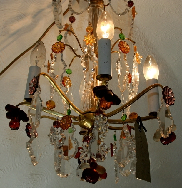 Coloured Glass Chandelier Intended For Famous Sold* French Coloured Glass & Fruit Chandelier (View 4 of 10)
