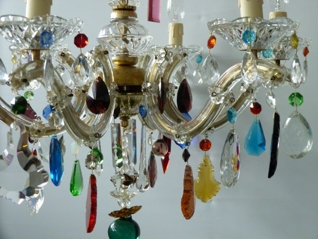 Coloured Glass Chandelier With Well Known 5 Arm Glass Marie Therese Chandelier With Vintage Coloured Drops (View 6 of 10)