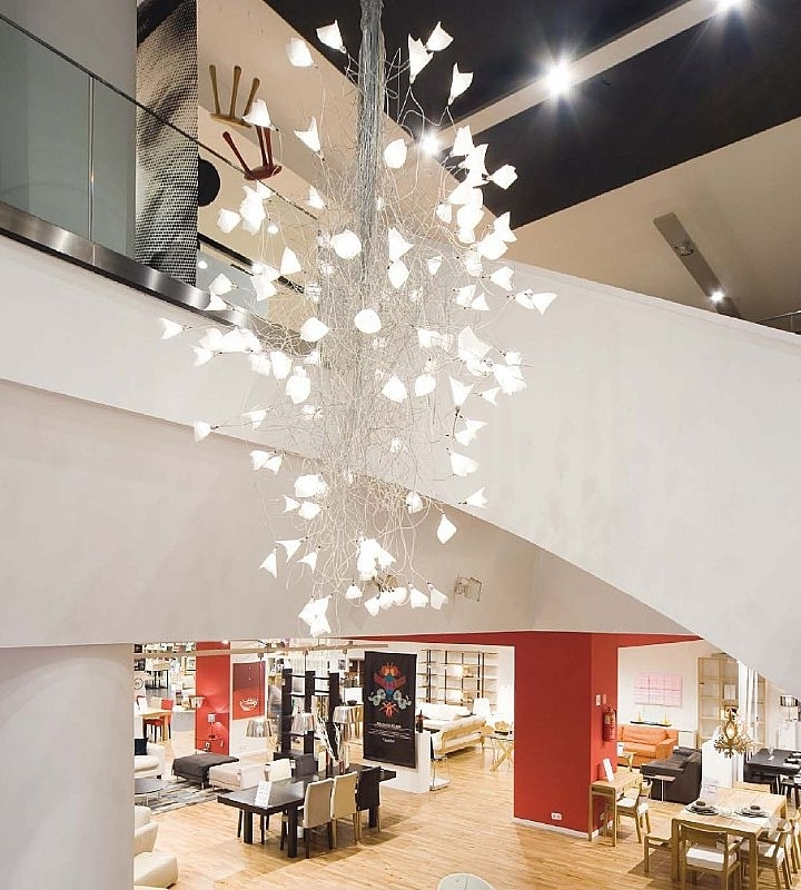 Contemporary Large Chandeliers Intended For Widely Used Led Jogg – Twisted Chandelier For Large Spaces (View 5 of 10)