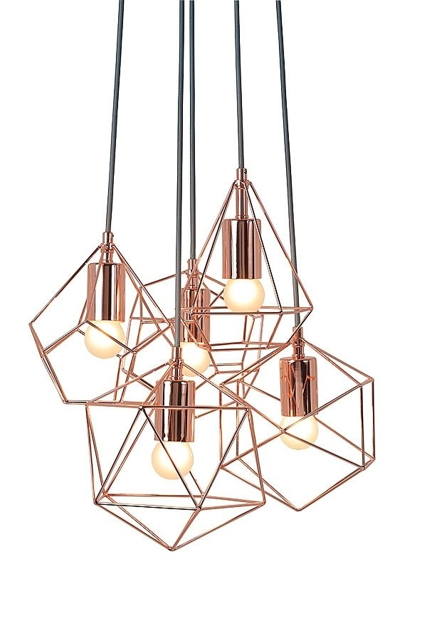Copper Chandelier Inside Popular My Furniture/ Geometric Chandelier /rose Gold Chandelier /copper (View 8 of 10)