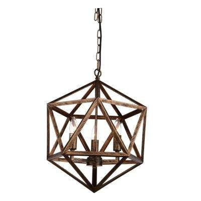 Copper Chandeliers Pertaining To Best And Newest Rustic – Copper – Chandeliers – Lighting – The Home Depot (View 5 of 10)