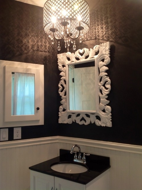 Crystal Bathroom Lights Dainolite 4 Light Intended For Brilliant For 2017 Crystal Chandelier Bathroom Lighting (View 6 of 10)