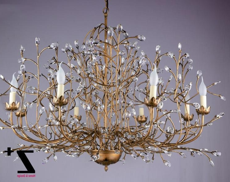 Crystal Branch Chandelier Pertaining To Recent Tree Branch Chandelier 6 Arm Aged Brass Finish Country Style Tree (View 2 of 10)