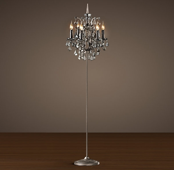 Crystal Chandelier Floor Lamp Ebay Pertaining To Standing For Most Current Crystal Chandelier Standing Lamps (View 3 of 10)