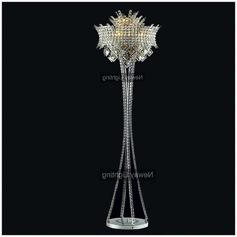 Crystal Chandelier Standing Lamps Intended For Most Popular Home Design : Excellent Floor Lamp Crystal Chandelier Chrome Beaded (View 5 of 10)
