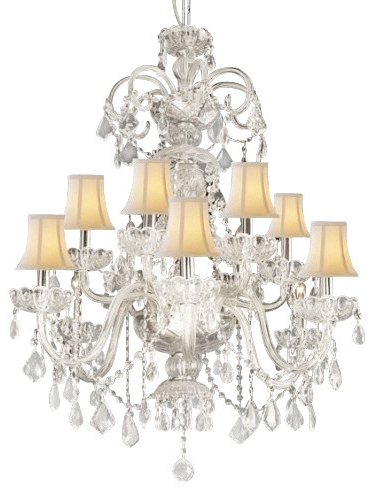 Crystal Chandeliers With Shades For Most Recently Released White Chandelier With Shades – Jeffreypeak (View 2 of 10)
