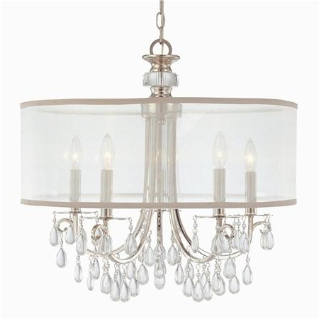 Crystal Chandeliers With Shades Inside Fashionable Crystal Chandelier With Drum Shade Pertaining To Idea  (View 3 of 10)