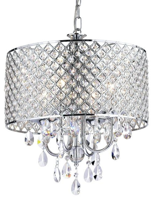 Crystal Chrome Chandelier Pertaining To Most Recently Released Crystal And Chrome Chandelier Together With 4 Light Crystal Drum (View 2 of 10)