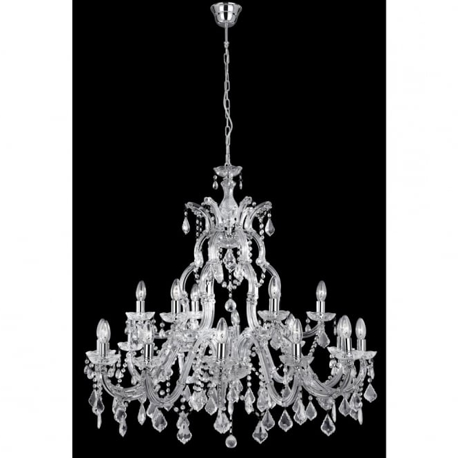 Crystal Chrome Chandelier With Most Popular Large Marie Therese Crystal Chandelier On Chrome Frame With Long Drop (View 4 of 10)